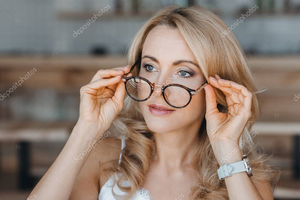 beautiful middle aged woman with eyeglasses