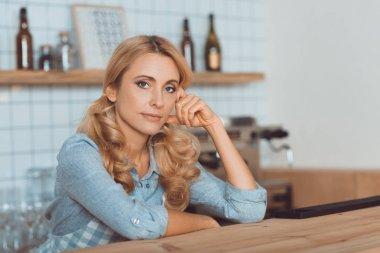beautiful waitress in cafe