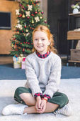 Photo little girl on christmas