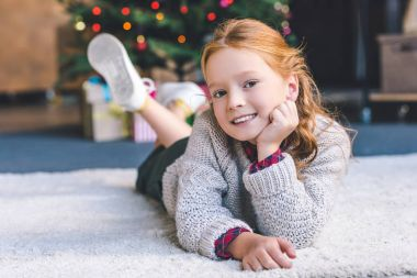 girl relaxing on christmas