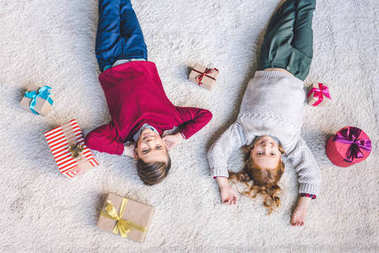 kids relaxing on christmas