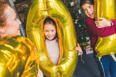 family having fun on new year