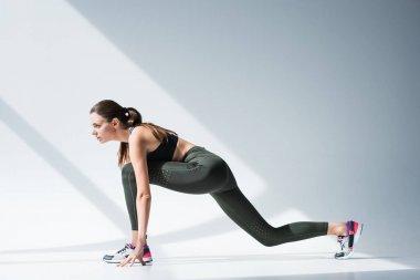 sportswoman ready to run