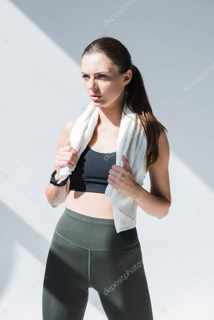athletic woman with towel
