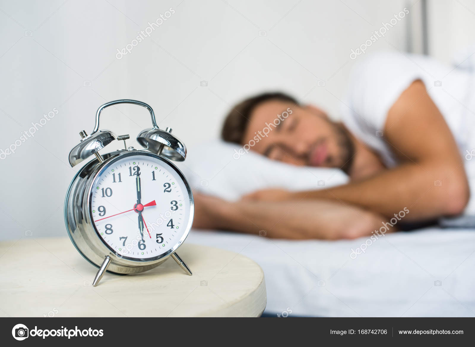 Alarm Clock On Bedside Table U2014 Stock Photo