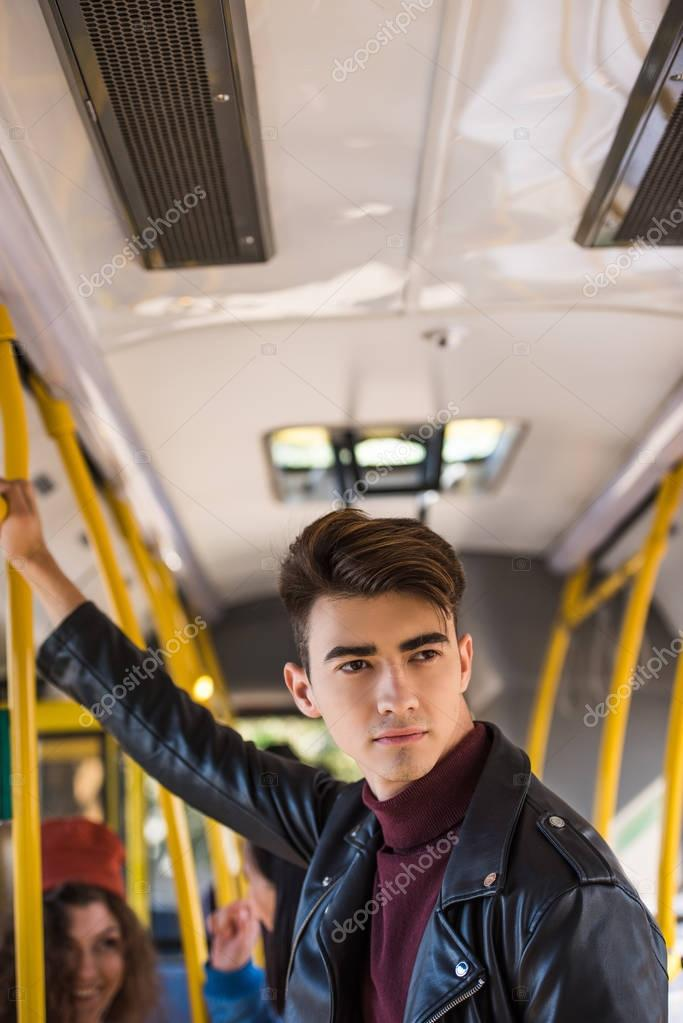 handsome man in bus