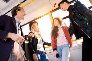 young friends in bus