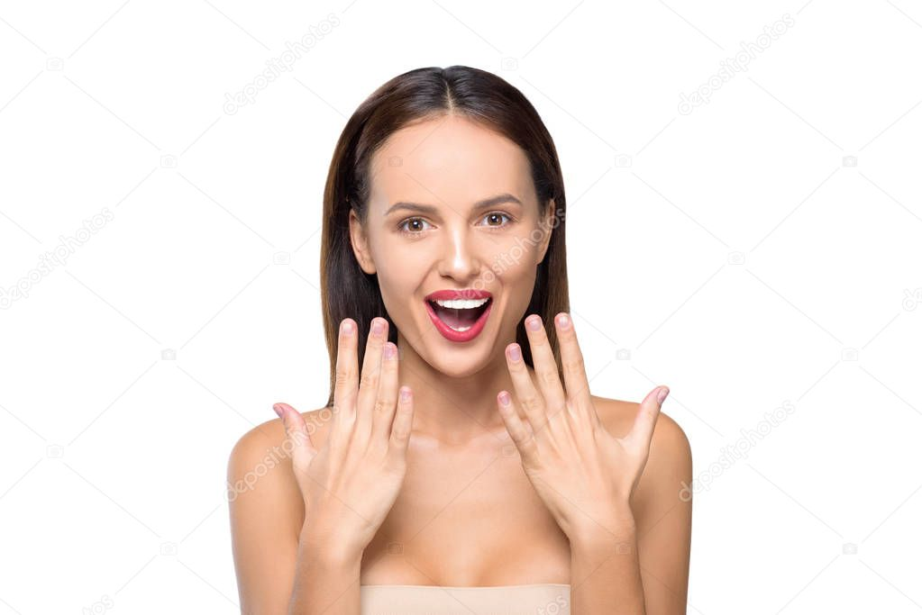 happy girl showing manicure