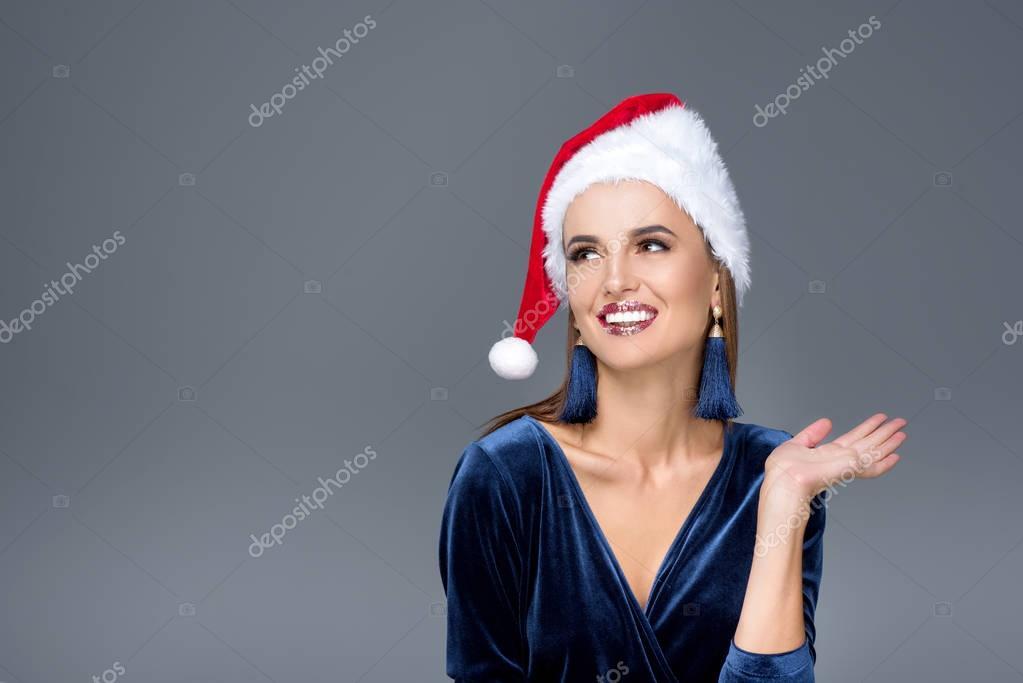 gorgeous woman in santa hat