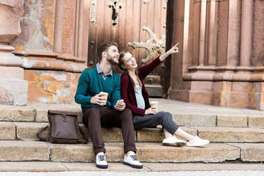 woman showing something to husband