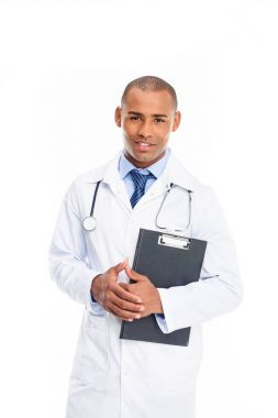 african american doctor with diagnosis