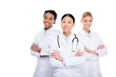 multiethnic doctors with crossed arms
