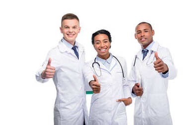 Multiethnic female and male doctors with thumbs up, isolated on white stock vector