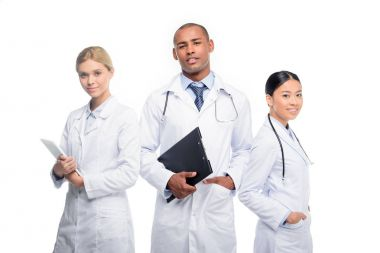doctors with stethoscopes, clipboard and tablet