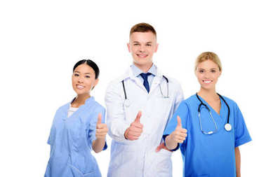 Multiethnic female surgeons and male doctor with thumbs up, isolated on white stock vector