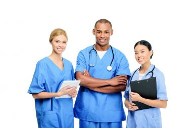 Multiethnic surgeons with clipboard and digital tablet, isolated on white stock vector