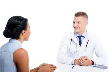 African american female patient having consultation with doctor, isolated on white stock vector
