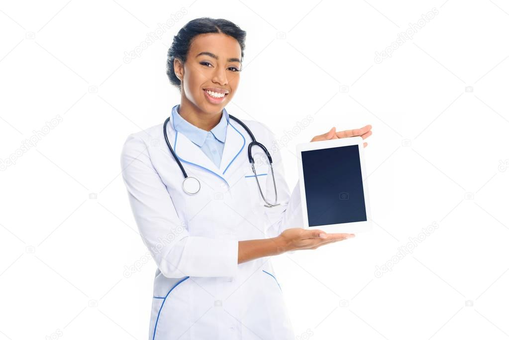 doctor presenting tablet