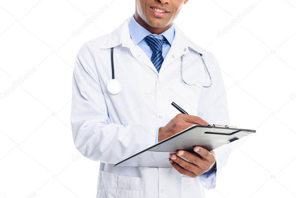 doctor writing diagnosis