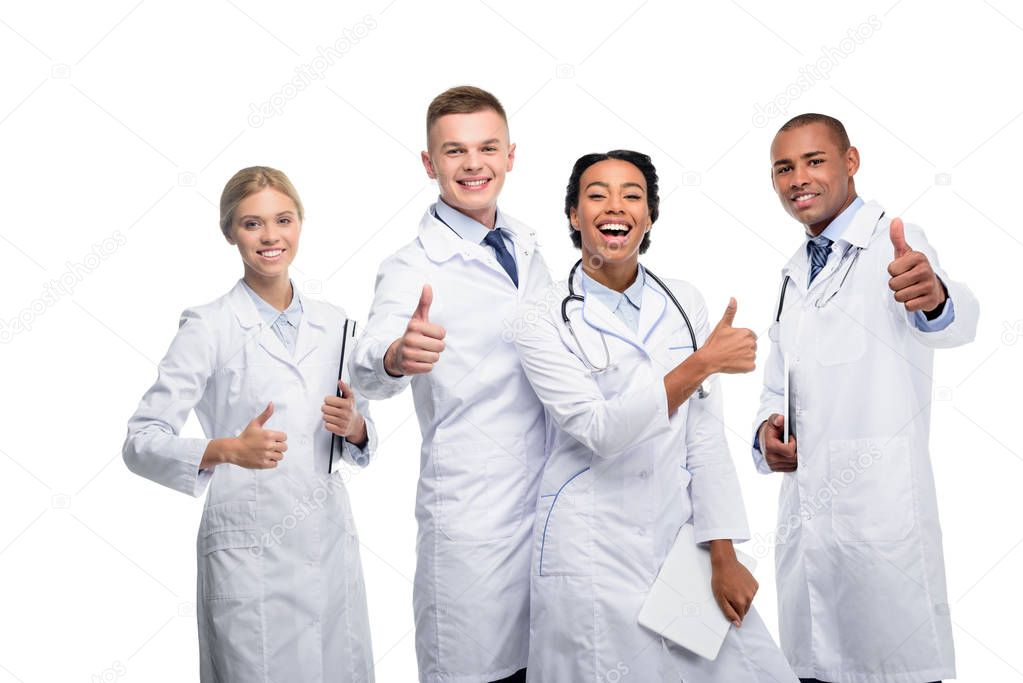 multiethnic doctors with thumbs up