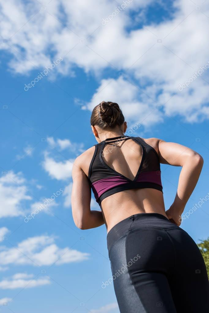 woman jogging on nature