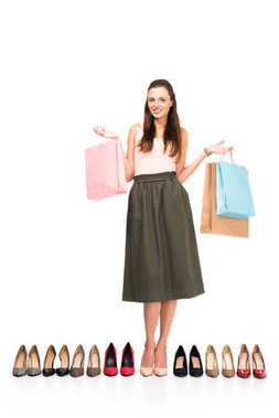 woman with shopping bags and shoes