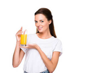 Portrait of woman with glass of fresh juice looking at camera isolated on white stock vector