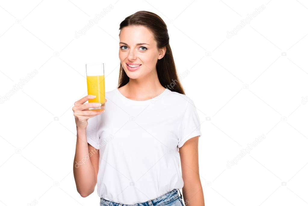 woman with glass of fresh juice