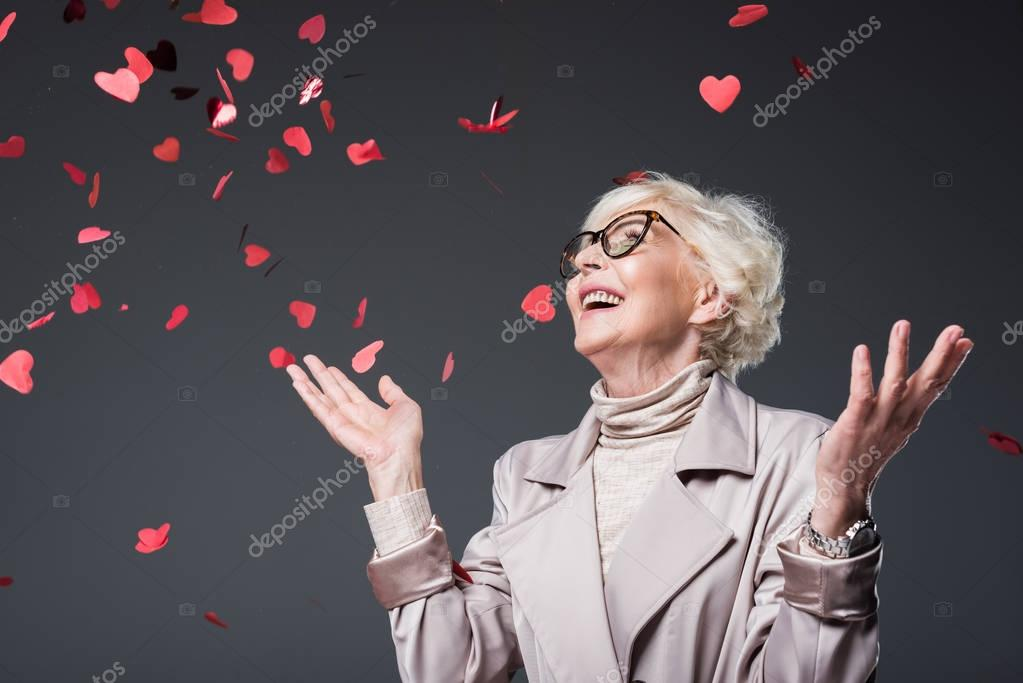 lady with heart shaped confetti