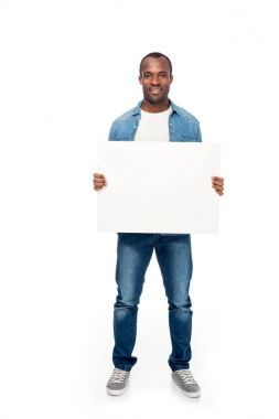 african american man with blank banner