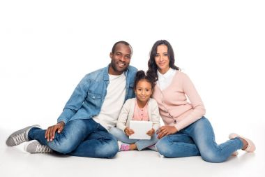 african american family with digital tablet