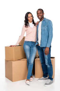 african american couple with cardboard boxes