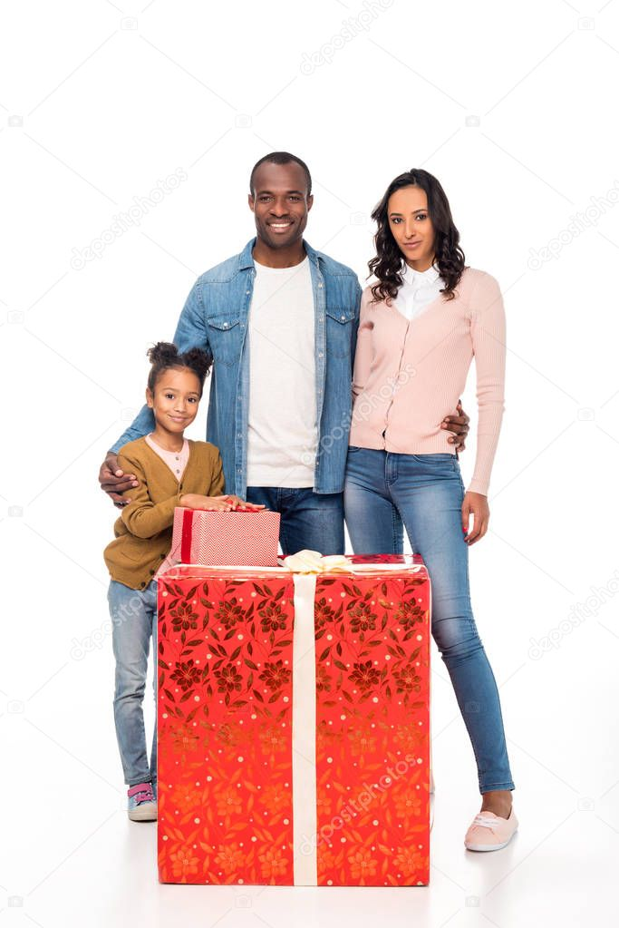 african american family with gifts