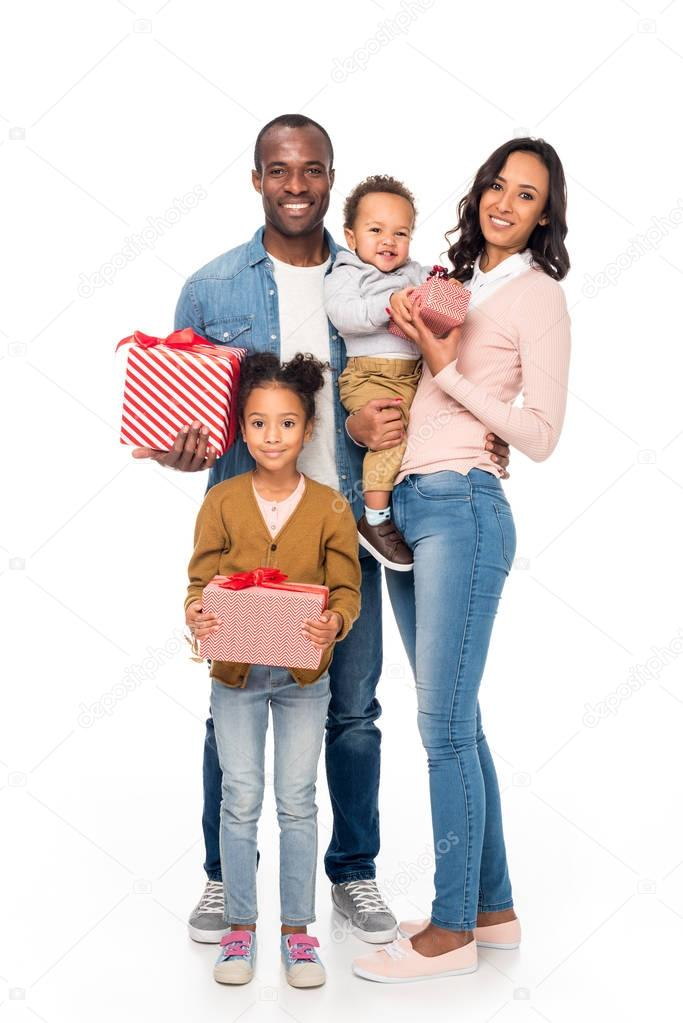 happy african american family with gifts