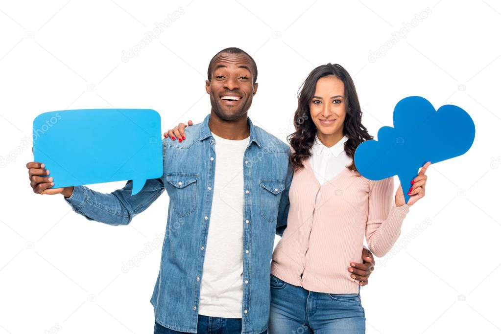 african american couple with speech bubbles