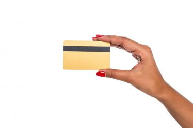 Close-up partial view of african american woman holding credit card isolated on white stock vector