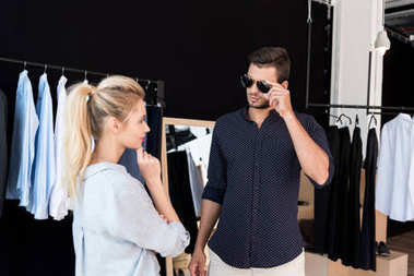 young couple in boutique