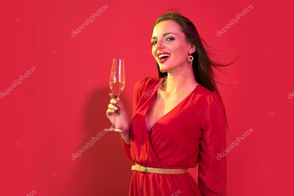 attractive woman with champagne