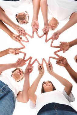 Bottom view of volunteers assembling star made of peace gestures isolated on white stock vector