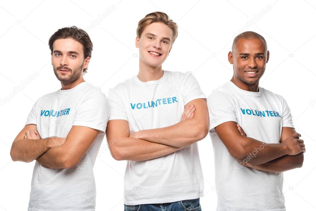 handsome volunteers with crossed arms
