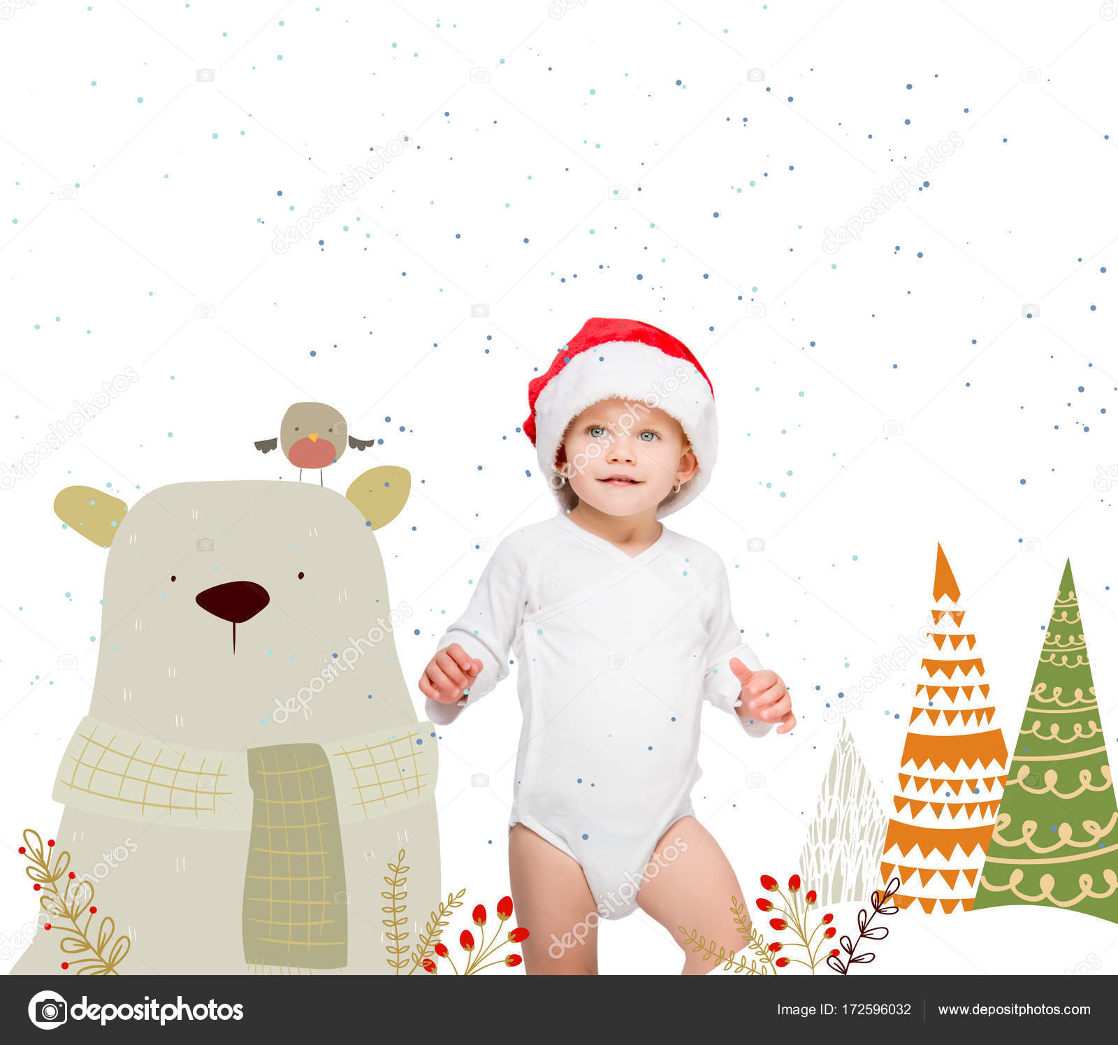 8791ed23219 Portrait of happy baby in santa hat and bodysuit isolated on white — Photo  by AllaSerebrina