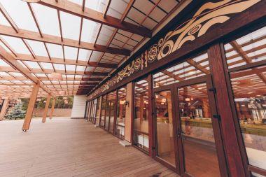modern restaurant with wooden decoration