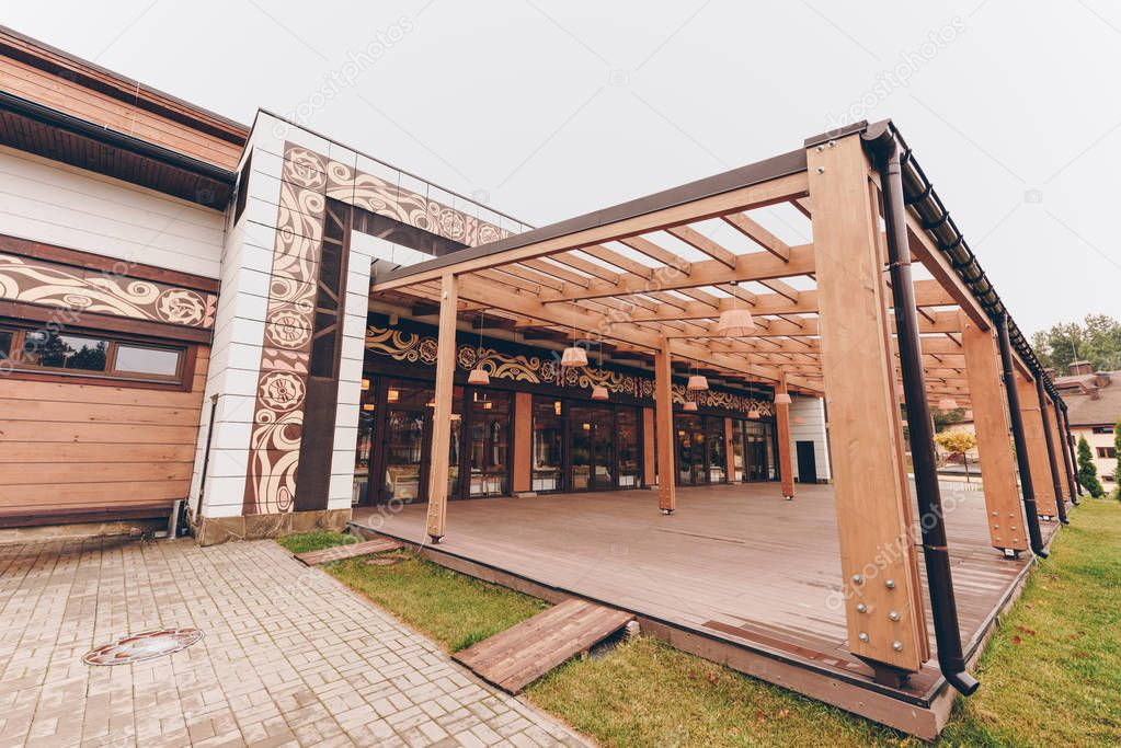 countryside restaurant with wooden decoration