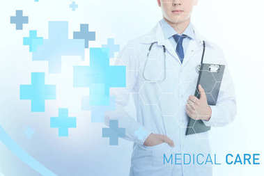 doctor with stethoscope and diagnosis