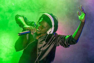 DJ singing with microphone on concert