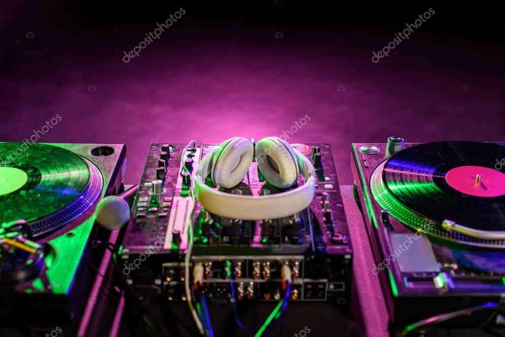 sound mixer with vinyl and headphones
