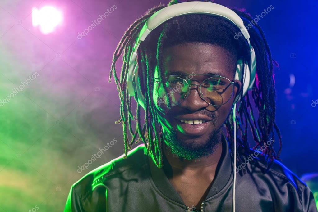 african american DJ in headphones