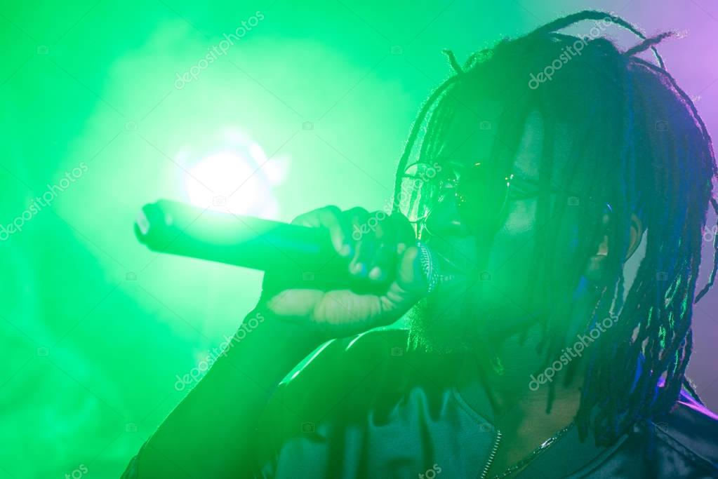 DJ with microphone