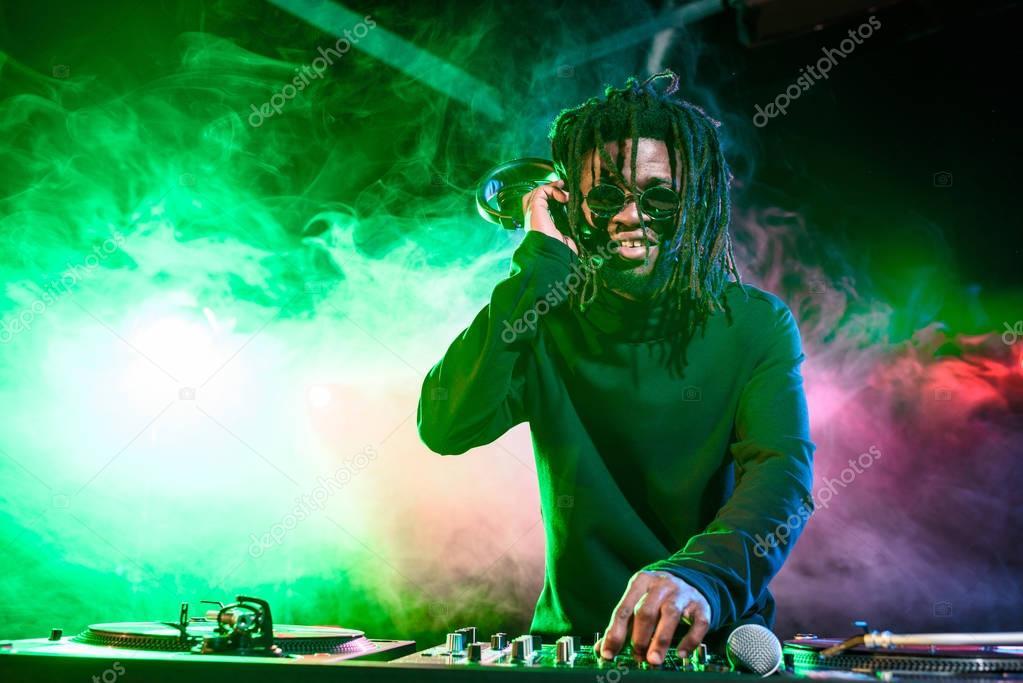 african american DJ in nightclub