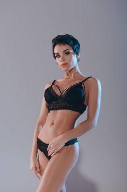 sexy girl in black lingerie